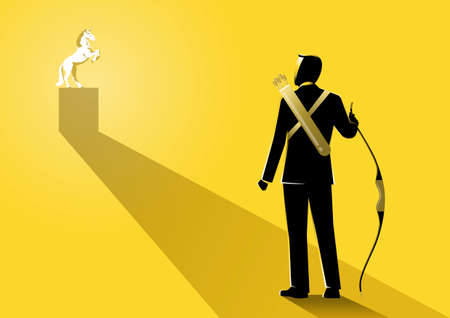 An illustration of a businessman holding a bow aiming to a unicorn on yellow background