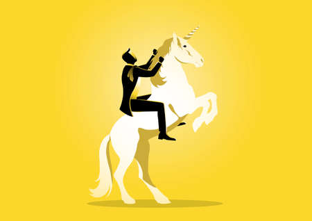 An illustration of a businessman riding a unicorn on yellow background