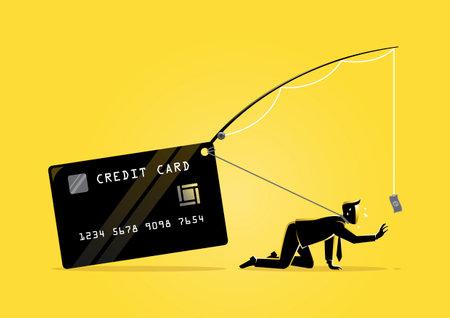 An illustration of an exhausted businessman trying to reach a dollar bill bait Vektorgrafik