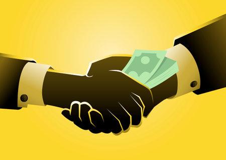 An illustration of giving money illegally or unethically. bribery concept. Vektoros illusztráció