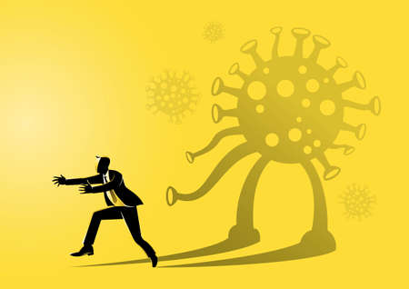 An illustration of a businessman frightened by his own shadow resembling corona virus Stock Illustratie