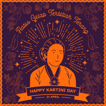 An illustration of Kartini Day Celebration. Habis gelap terbitlah terang means After Darkness comes Light Фото со стока - 163945563