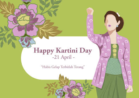 An illustration of Kartini Day Celebration. Habis gelap terbitlah terang means After Darkness comes Light