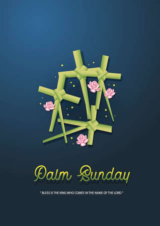 An Illustration of cross decoration made from palm leaves