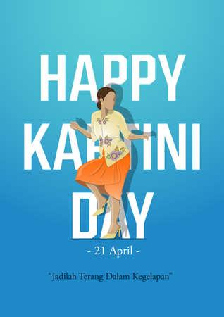 An illustration of Kartini Day Celebration. Jadilah terang dalam kegelapan means be light in the dark