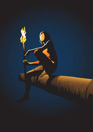 An illustration of a young man holding a torch at night