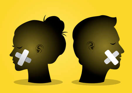An illustration of a couple heads with their mouth sealed. Vector illustration Иллюстрация