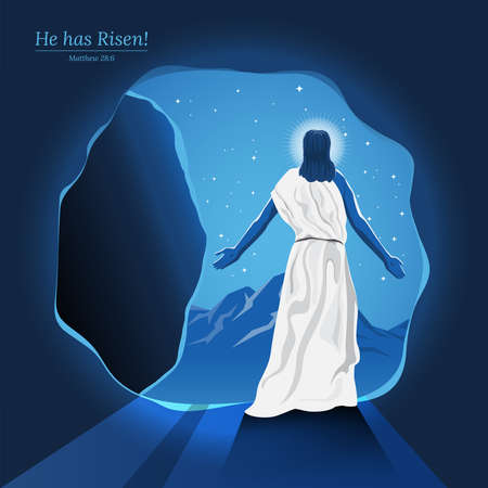 An illustration of Jesus Resurrection walked out out of a tomb