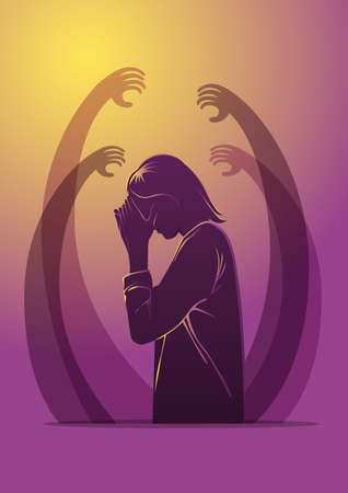 An illustration of sad unhappy young woman surrounded by hands with guilt