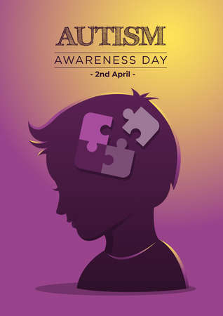 An Illustration of Autism Awareness Day and Puzzle Pieces in Child's Head Иллюстрация
