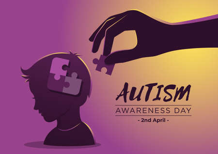 An Illustration of Autism Awarness Day with Puzzle Pieces in Child's Head Иллюстрация
