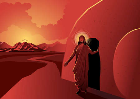 An illustration of Jesus walked out of a tomb on reddish background Иллюстрация