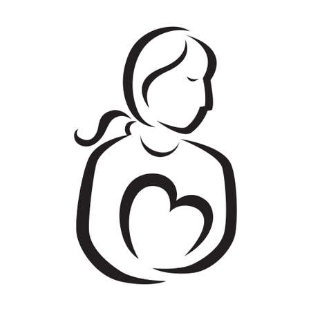 An illustration of a mother holding her heart. Icon and logo illustration