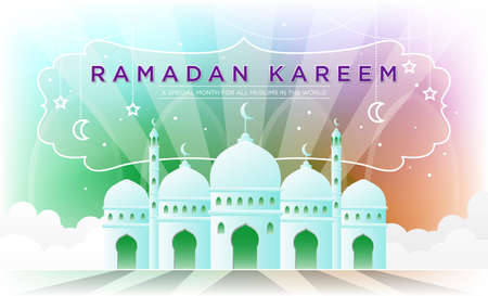 Ramadan kareem illustration with white mosque Free Vector