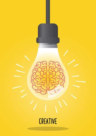 Brain in a light bulb. Idea icon illustration Иллюстрация