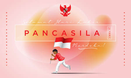 A man carrying a national flag. Selamat hari lahir Pancasila. translation: happy pancasila day Иллюстрация