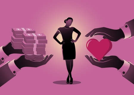 An illustration of a woman choosing between love or money