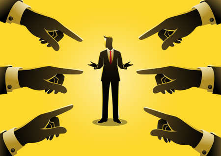 Business concept illustration of a businessman being pointed by giant fingers Иллюстрация