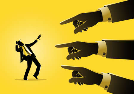 An illustration of a businessman being pointed by giant fingers