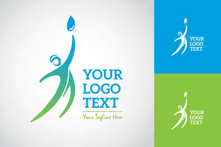 A Man Reach A Water Drop Logo. Symbol and Icon Vector Template. Иллюстрация