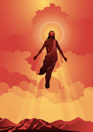 An illustration of the ascension day of Jesus Christ. Vector illustration. Biblical Series