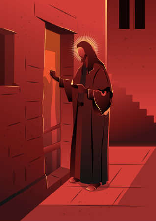 An illustration of Jesus Knocking on the Door. Biblical series