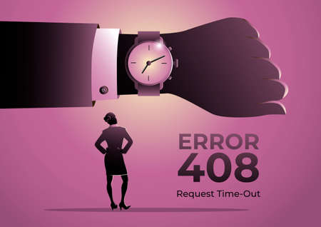 An illustration for page 408 Error with a businesswoman looking at businessman hand watch Ilustración de vector