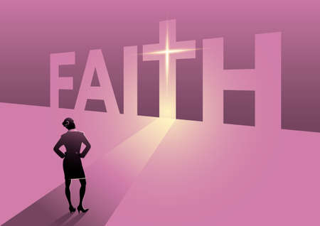 An illustration of rear view of a businesswoman standing in front of faith door