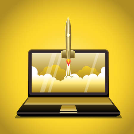 An illustration of business project startup. Rocket launch from laptop screen