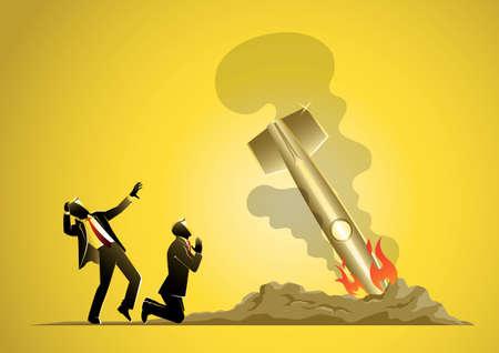 An Illustration of Project Startup Failure. Fallen Rocket Ship Vector and Illustration Иллюстрация