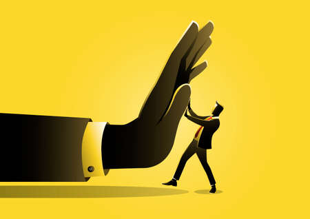 An illustration of a businessman being pushed by giant hand. Business concept
