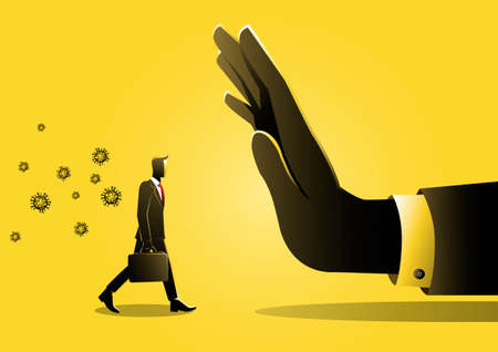 An illustration of a businessman being stopped because carrying the virus, survival during pandemic, virus outbreak