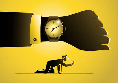 An illustration of exhausted concept, a businessman is running out of time. Business concept Иллюстрация