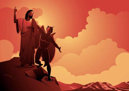 An illustration of depiction of the temptation of Satan to Jesus Christ. Biblical Series Иллюстрация