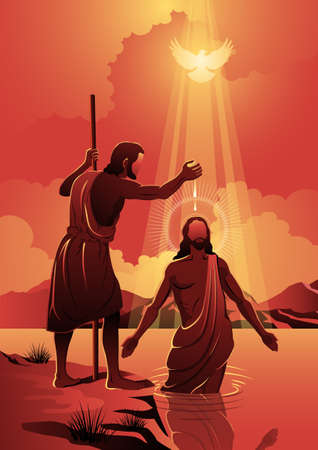 An illustration of Jesus baptized by john the baptist. Biblical Series