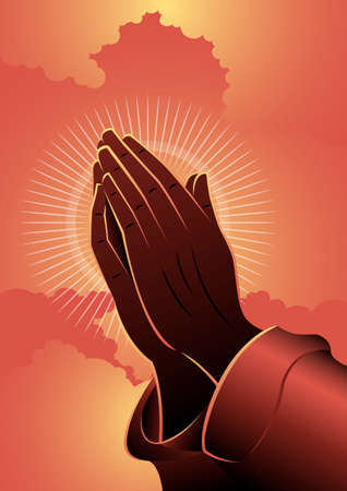 An illustration of Praying hands on red clouds background. Biblical Series Иллюстрация
