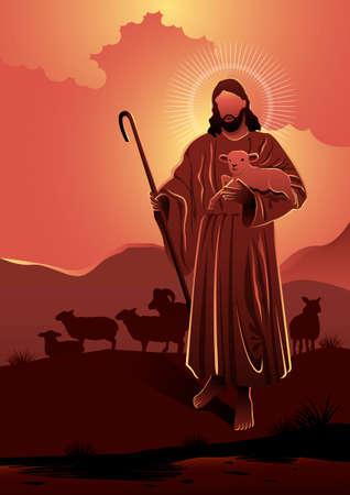 An illustration of Jesus as a good sheperd. Biblical Series