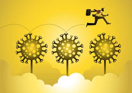 Business concept illustration of a businessman jumping through covid19. Global business concept Ilustração Vetorial