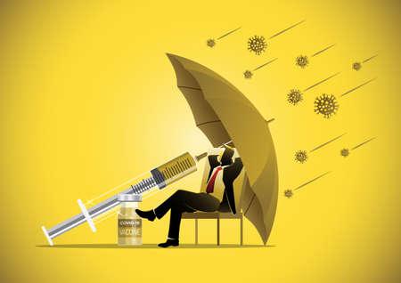 Business concept illustration of a businessman sitting under umbrella with covid-19 corona virus around
