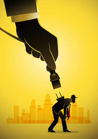 Business concept illustration of a giant hand giving power to a businessman Иллюстрация