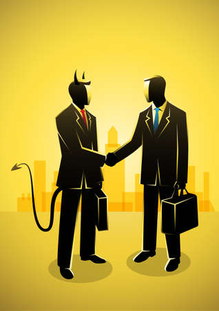 Business concept illustration of a businessman making a deal with the devil