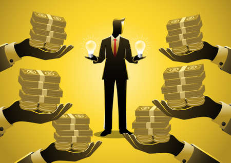 Business concept illustration of a businessman selling ideas to businessman