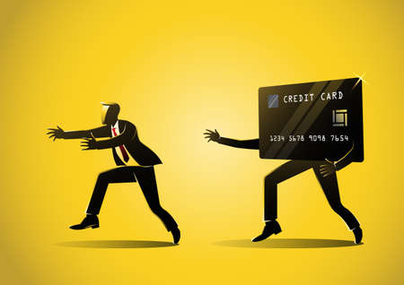 Business concept illustration of a credit card debt, businessman hunting by credit card