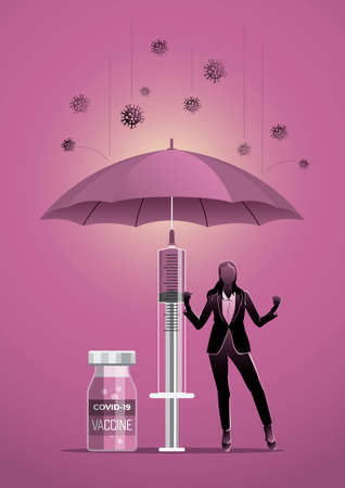 Business concept illustration of a businessoman under umbrella with covid-19 corona virus around