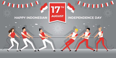 17 August, Indonesia Independence Day, vector illustration Иллюстрация