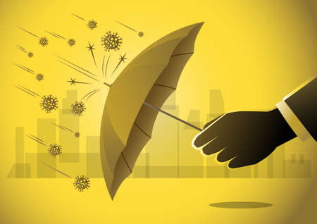 Business concept illustration of a businessman using an umbrella to protect from covid-19 corona virus around