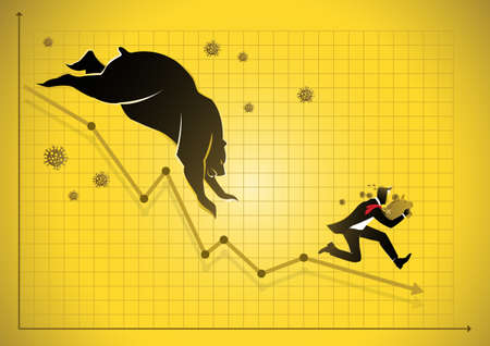 Economic impact of virus, financial crisis and economic recession concept, a scared businessman with piggy bank running from virus and stock market