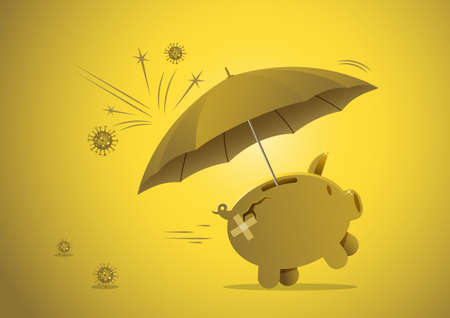 Financial or investment immune to virus crisis or savings in pandemic concept, piggy bank with protection umbrella to protect from virus pathogen impact Иллюстрация