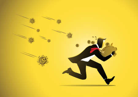 Economic impact of virus, financial crisis and economic recession concept, scared businessman with piggy bank running from virus Иллюстрация