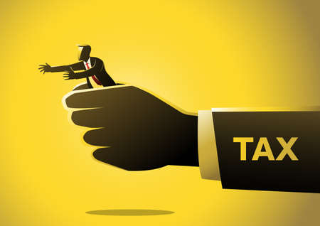 An illustration of big hand tax hold a businessman vector concept